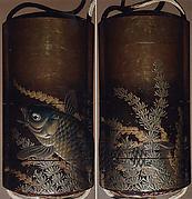 Case (Inrō) with Design of Large Carp Swimming among Seaweeds