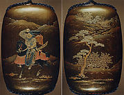 Case (Inrō) with Design of Courtier on Horseback (obverse); Landscape with Trees (reverse)