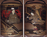 Case (Inrō) with Design of Chinese Scholar Seated at Low Desk (obverse); Lady Using Brush (reverse)