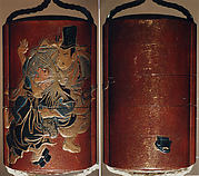 Case (Inrō) with Design of Tadamori Fighting with the Oil Thief (obverse); Sandal (Geta) which was Lost during the Fight (reverse)