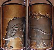 Case (Inrō) with Design of Blind Men Touching and Climbing Over an Elephant