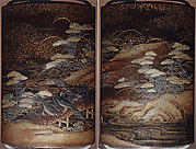 Case (Inrō) with Design of Crows on Bridge beside Autumn Flowers
