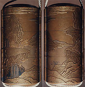 Case (Inrō) with Design of Chinese-Style Landscape with a Building (obverse); Waterfall with Cloud Bands (reverse)