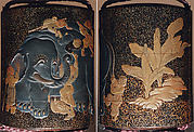 Case (Inrō) with Design of Blind Men Climbing all over Elephant Beside Banana Plants
