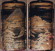 Case (Inrō) with Depiction of Daimyō Procession at the Foot of Mount Fuji
