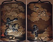 Case (Inrō) with Design of Magician Handaka Sonja Seated beneath Tree (obverse); Karako Pointing at Dragon in Sky (reverse)