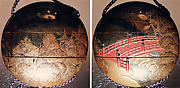 Case (Inrō) with Design of Semi-Circular Bridge (obverse); Crows in Flight Beside Pagoda (reverse)