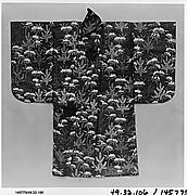 Noh Robe (Karaori) with Pattern of Young Pines and Snow-Covered Bamboo on a Red Ground