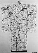 Overrobe (Uchikake) with Pattern of Long-Tailed Birds in a Landscape