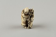 Netsuke of Man and Two Children with a Sambaso Dancer Puppet