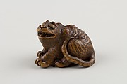 Netsuke of Seated Tiger with Tail Curled beside Him