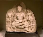 Meditating Buddha Attended by Two Bodhisattvas