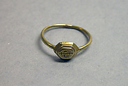 Ring with Hexagonal Bezel and &quot;Sri&quot; Inscription