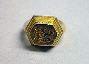 "Ring with Hexagonal Bezel and ""Sri"" Inscription"
