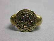 """Ring with Circular Bezel with Inscribed Fish Motif and """"Sri"""""""