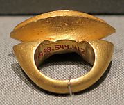 Stirrup-Shaped Ring with Oblong Bezel with Nagari Script
