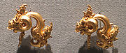 Pair of Ear Ornaments with Ram's Head Motif
