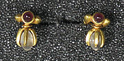 Pair of Ear ornaments, Ruby and Crystal
