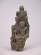 Seated Buddha Protected by Naga (front), Dancing Multi-Headed Hevajra (back)