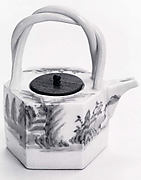 Hexagonal Sake Ewer with Landscape Design