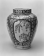 Octagonal Jar with Decoration of Flowering Cherry and Chrysanthemum