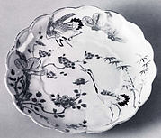 Lobed Dish with Molded Chrysanthemum Design and Decoration of Crane, Bamboo, Plum and Pine