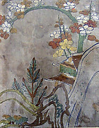 Piece from a Kosode with Pine, Bamboo, Blossoming Plum, and Partial Pavilion