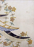 Piece from a Kosode with Boats and Flowers