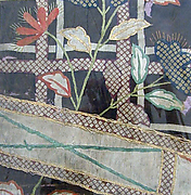 Piece from a Kosode with Fence and Autumn Flowers