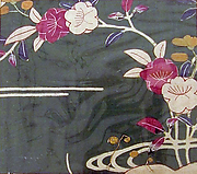 Piece from a Kosode with Orange Blossoms and Stream