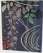 Piece from a Summer Kosode (katabira) with Wisteria above a Stream