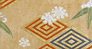 Textile with Snow, Bamboo, and Concentric Diamond Lozenges