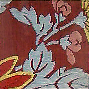 Textile with Partial Pattern of Chrysanthemums