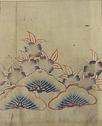 Piece from a Kosode with Pine Boughs and Cherry Blossoms
