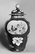 Jar with Rooster and Flowers