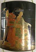 Inrō with Woman and Attendant; Man Reading Characters on a Stone Road Marker (reverse)