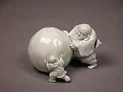 Snowball Pushed by Hotei and a Child