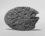 Box Lid with a Winged Lion and Remnant of an Iron Hinge