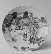 Dish with Scholar in a Landscape