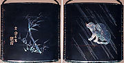 Case (Inrō) with Design of Seated Tiger in Rain (obverse); Bamboo with Inscription (reverse)
