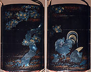 Case (Inrō) with Design of Rooster and Chickens Beneath Flowering Cherry Tree