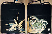 Case (Inrō) with Design of Crab in Basket (obverse); Crab in Bamboo Leaves (reverse)