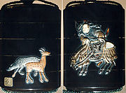 Case (Inrō) with Design of Hunter Dismounting Horse (obverse);  Two Spotted Deer (reverse)