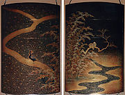Case (Inrō) with Design of Pheasant on Path (obverse); Two Birds on Tree over Winding River (reverse)