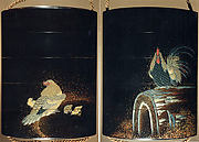 Case (Inrō) with Design of Rooster on Large Drum (obverse); Hen and Chicks (reverse)