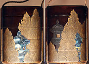 Case (Inrō) with Design of Stone Lanterns beside Cryptomeria Trees