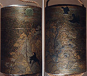 Case (Inrō) with Design of Crows in Trees and Flying before the Full Moon