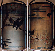 月下桜木鴉蒔絵印籠<br/>Inrō with Crows on Cherry Tree in Moonlight