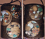 Case (Inrō) with Design of Flowers in Circular Panels