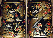 Case (Inrō) with Design of Chinese Lions (Karashishi) with Peonies and on Bridge